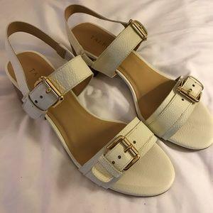 Talbots cream leather upper sandals size 8